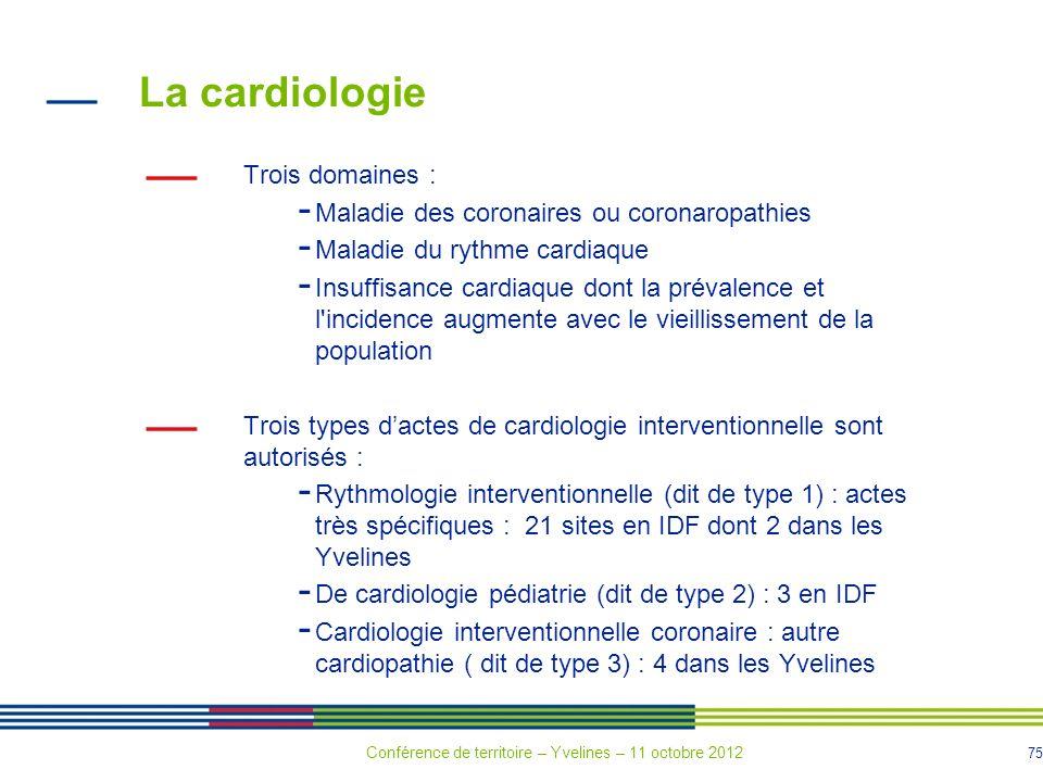 La cardiologie Trois domaines :