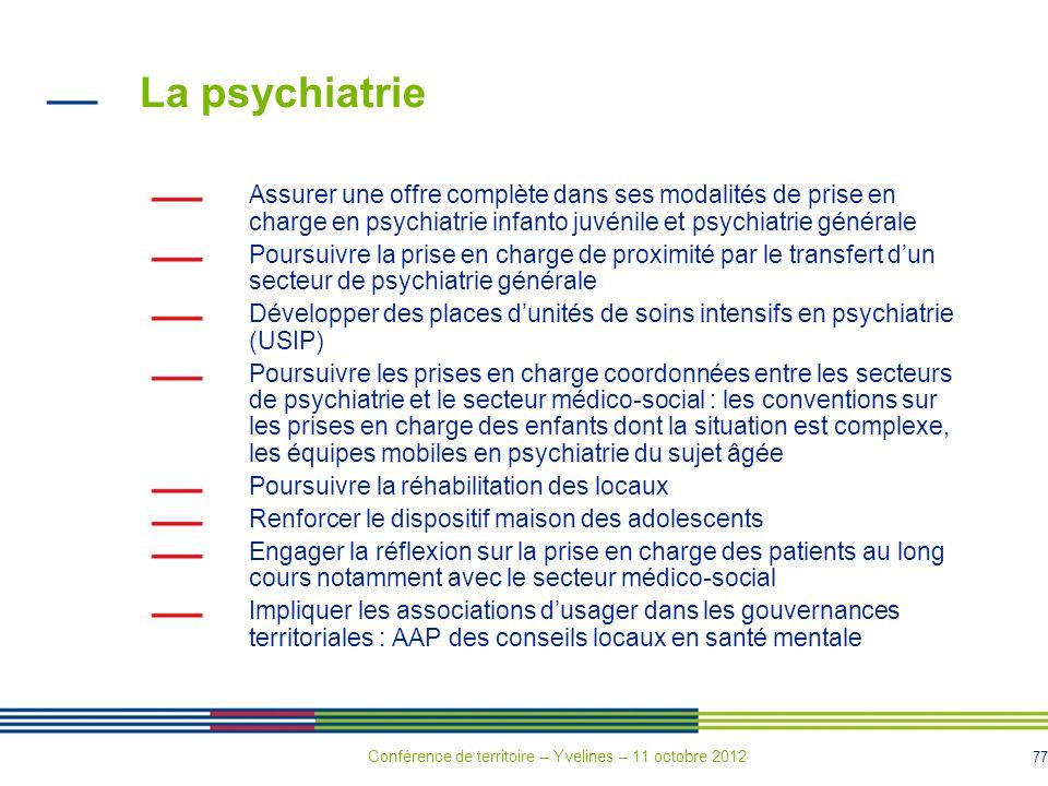 La psychiatrie Assurer une offre complète dans ses modalités de prise en charge en psychiatrie infanto juvénile et psychiatrie générale.
