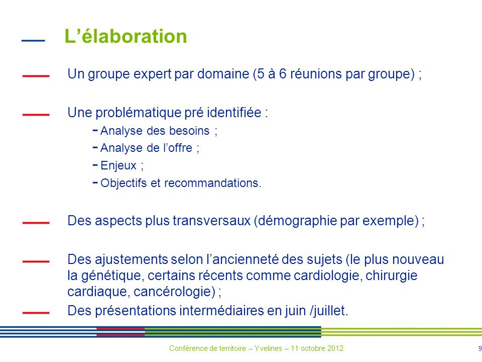 L'élaboration Un groupe expert par domaine (5 à 6 réunions par groupe) ; Une problématique pré identifiée :