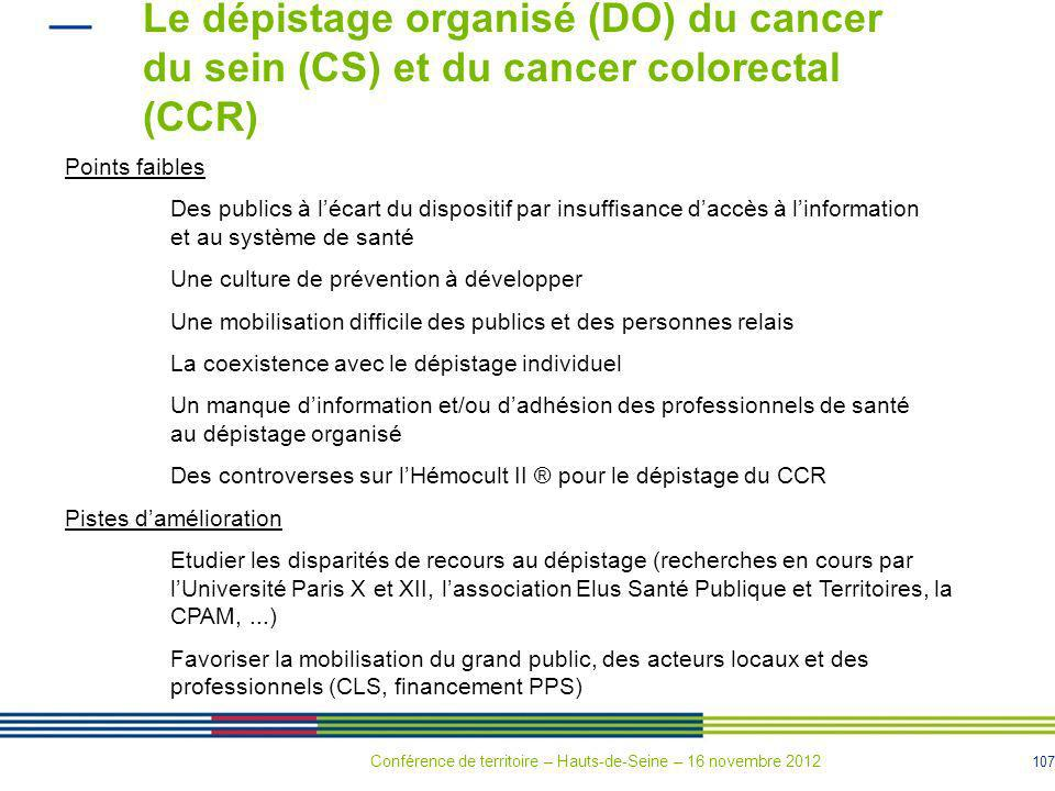 Le dépistage organisé (DO) du cancer du sein (CS) et du cancer colorectal (CCR)