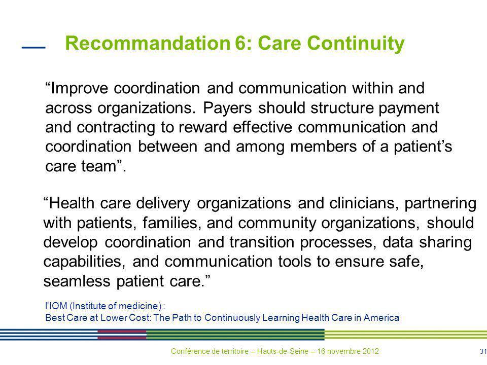 Recommandation 6: Care Continuity