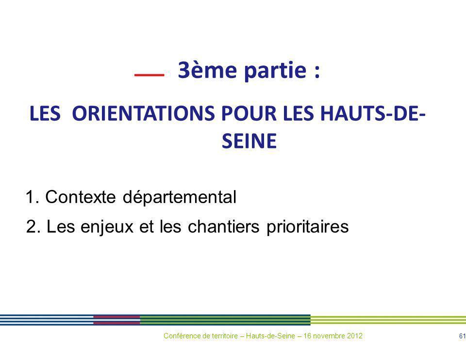 LES ORIENTATIONS POUR LES HAUTS-DE-SEINE