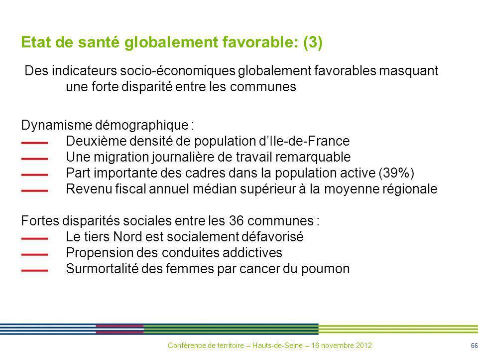 Etat de santé globalement favorable: (3)