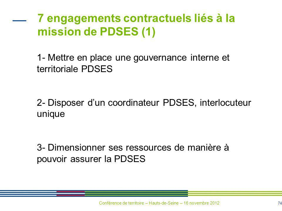 7 engagements contractuels liés à la mission de PDSES (1)