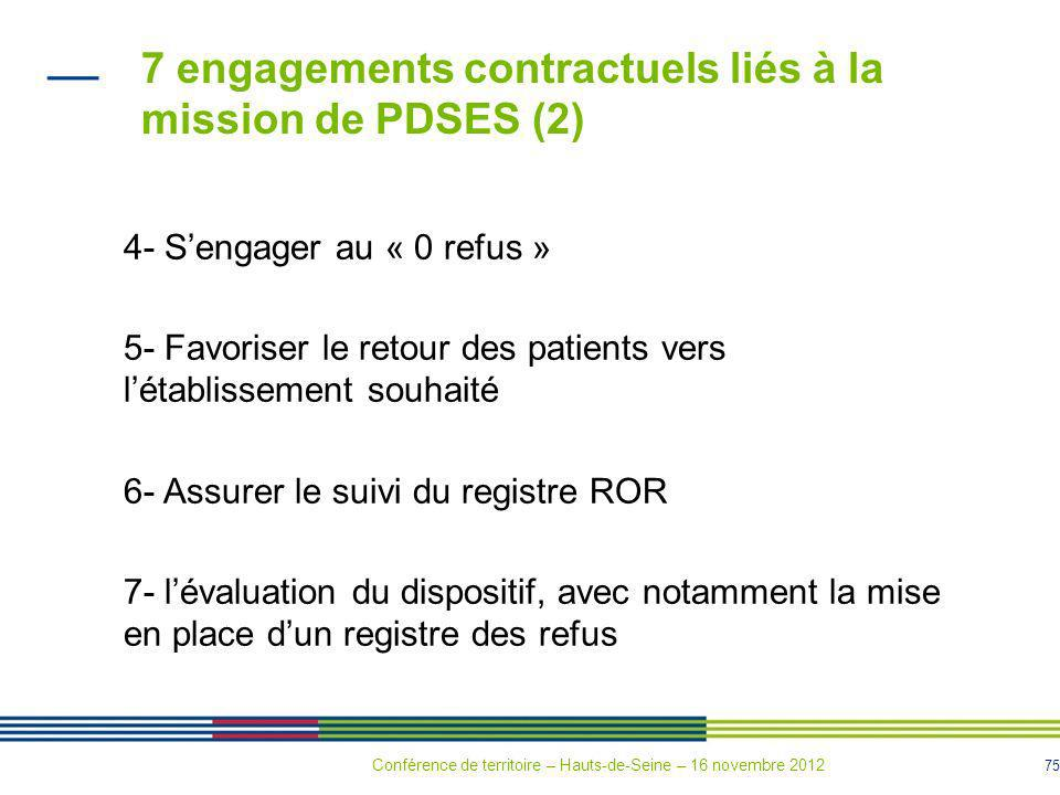 7 engagements contractuels liés à la mission de PDSES (2)