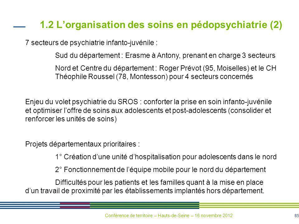 1.2 L'organisation des soins en pédopsychiatrie (2)