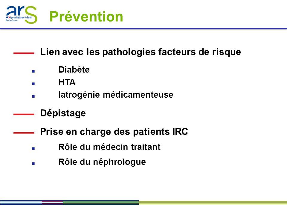 Prévention Lien avec les pathologies facteurs de risque Dépistage