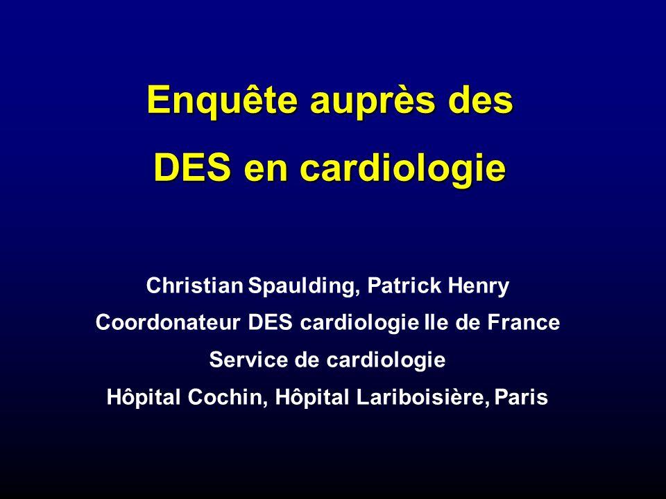 Enquête auprès des DES en cardiologie