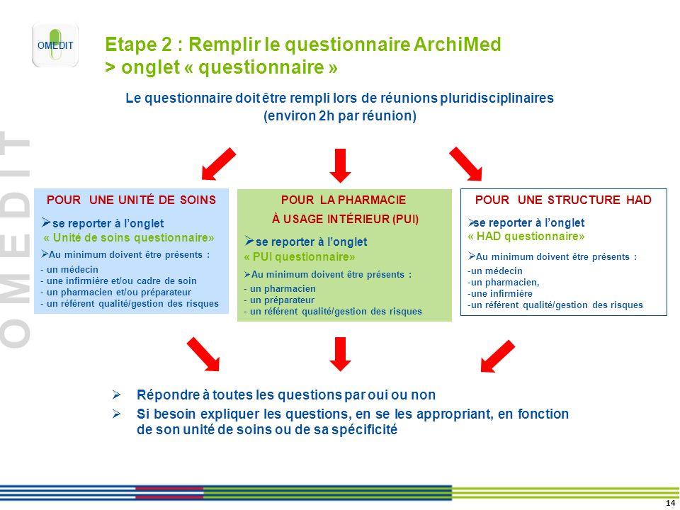 Etape 2 : Remplir le questionnaire ArchiMed > onglet « questionnaire »