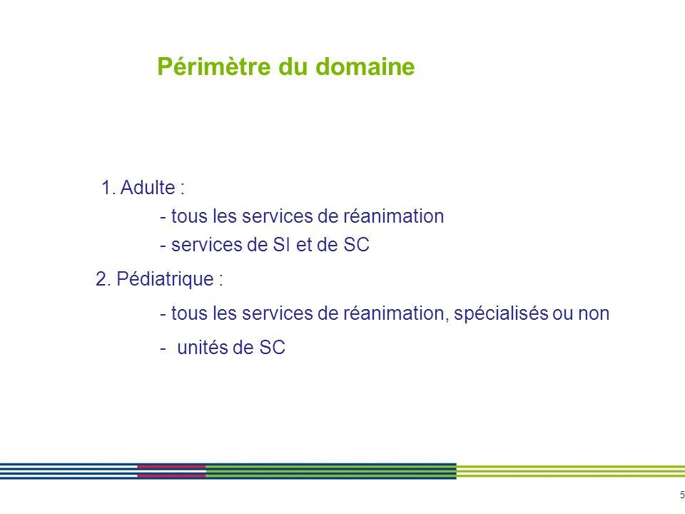Périmètre du domaine 1. Adulte : - tous les services de réanimation