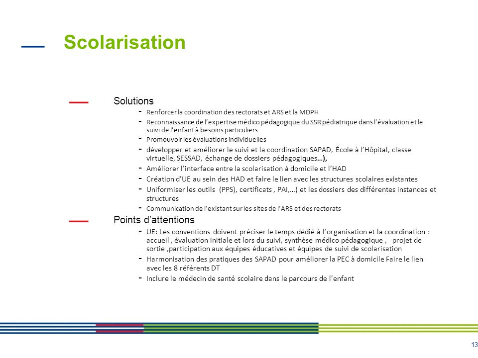 Scolarisation Solutions Points d'attentions