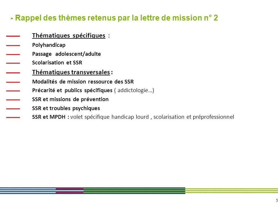 - Rappel des thèmes retenus par la lettre de mission n° 2