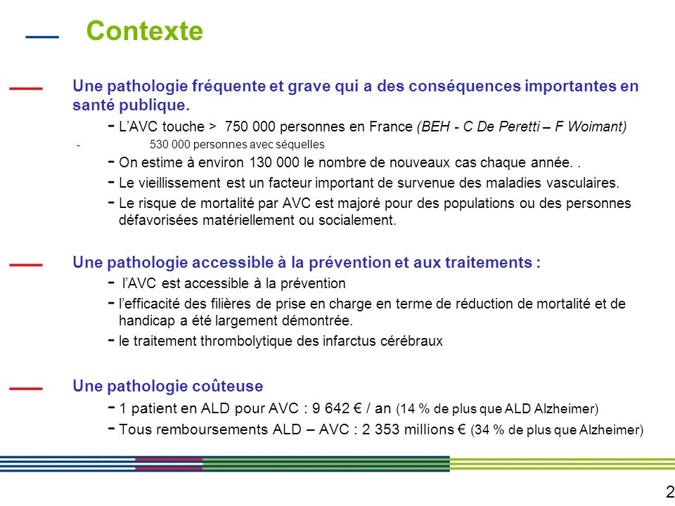 Contexte Une pathologie fréquente et grave qui a des conséquences importantes en santé publique.