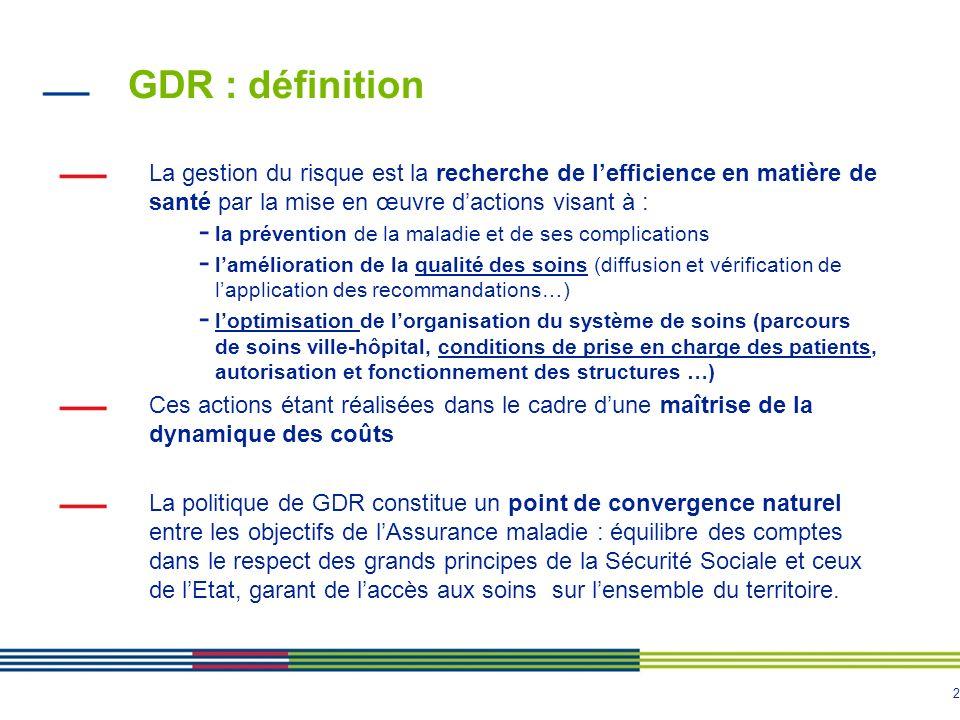 GDR : définition La gestion du risque est la recherche de l'efficience en matière de santé par la mise en œuvre d'actions visant à :