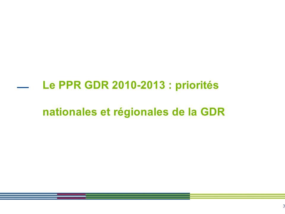 Le PPR GDR 2010-2013 : priorités nationales et régionales de la GDR