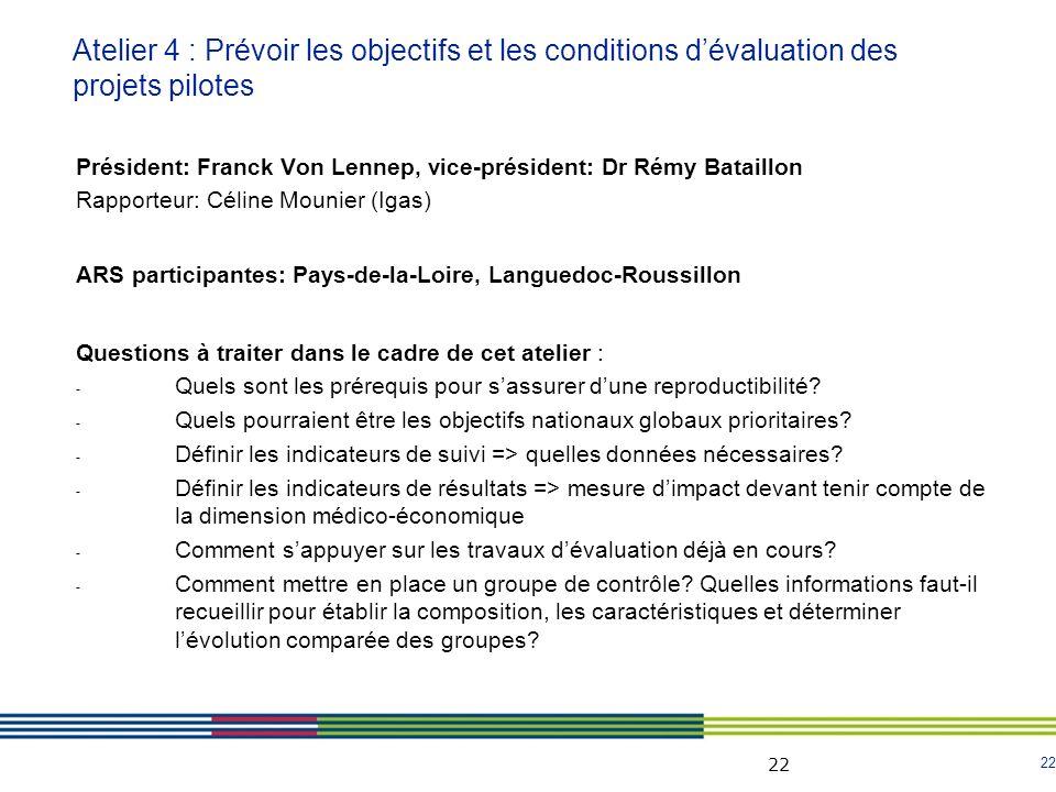 Atelier 4 : Prévoir les objectifs et les conditions d'évaluation des projets pilotes