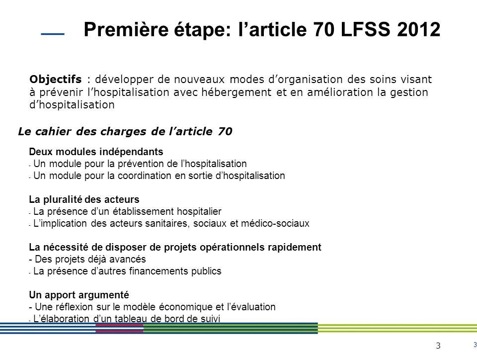 Première étape: l'article 70 LFSS 2012