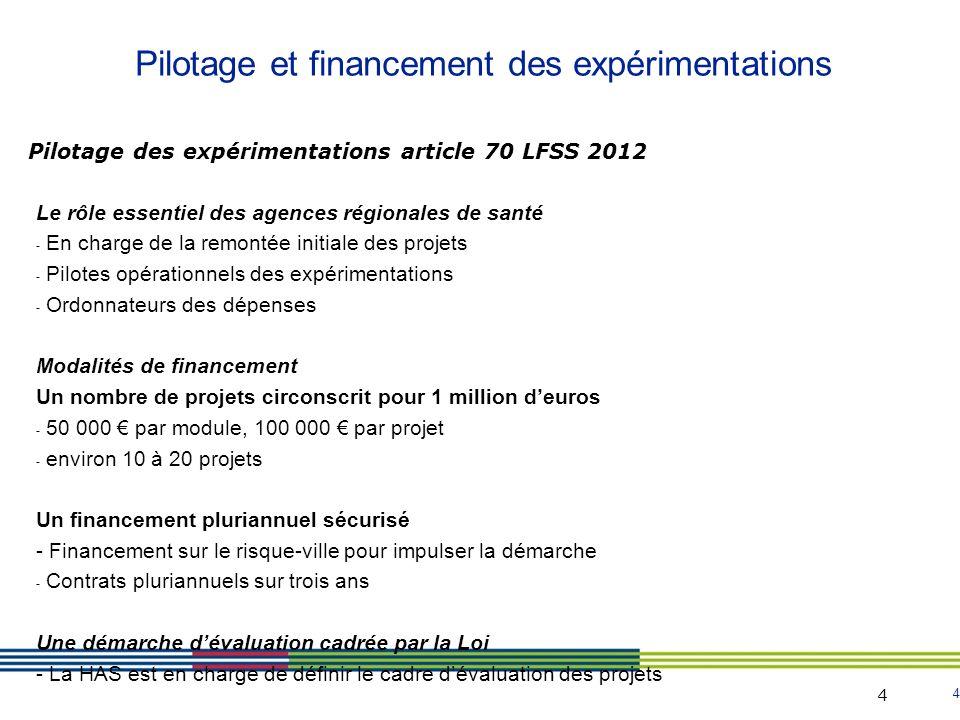 Pilotage et financement des expérimentations