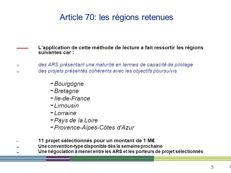 Article 70: les régions retenues