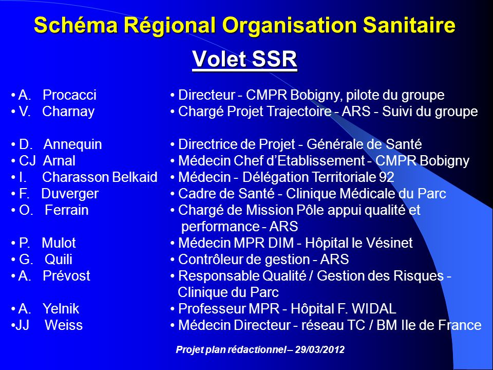 Schéma Régional Organisation Sanitaire Volet SSR