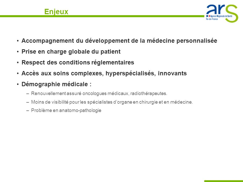 Enjeux Accompagnement du développement de la médecine personnalisée
