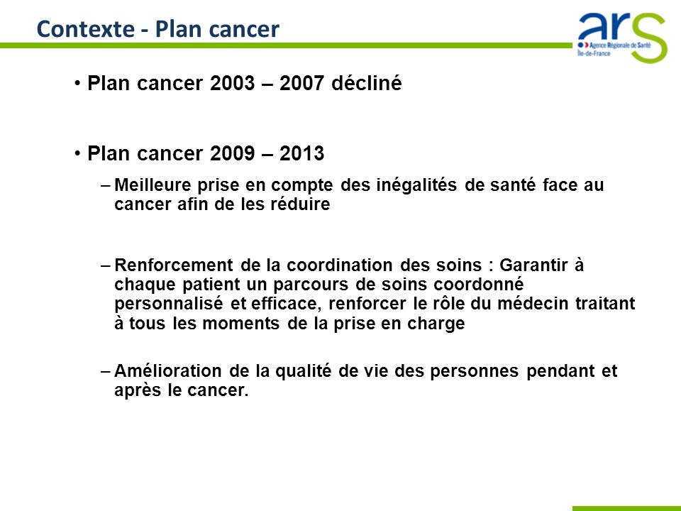 Contexte - Plan cancer Plan cancer 2003 – 2007 décliné