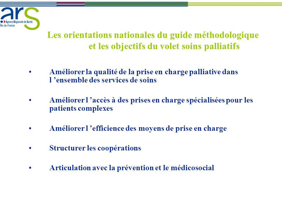 Les orientations nationales du guide méthodologique et les objectifs du volet soins palliatifs