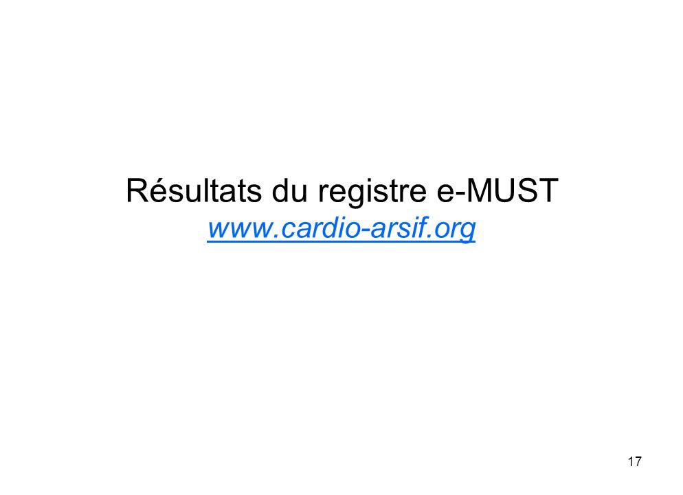 Résultats du registre e-MUST www.cardio-arsif.org