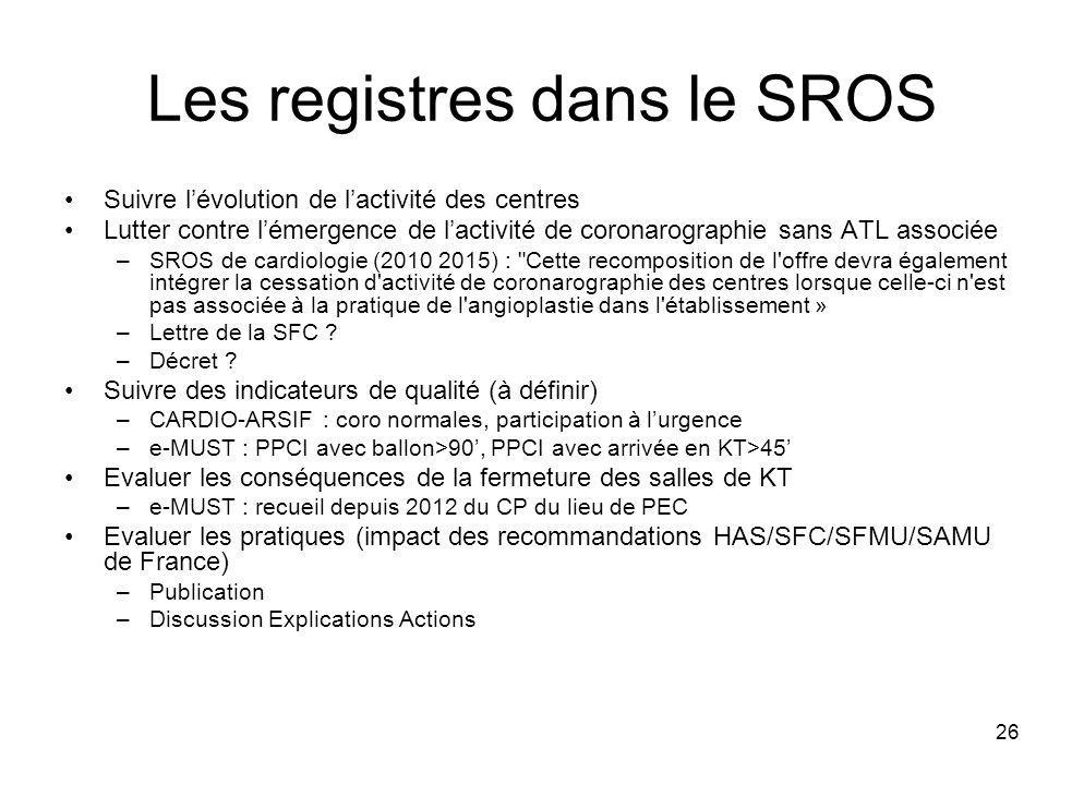 Les registres dans le SROS