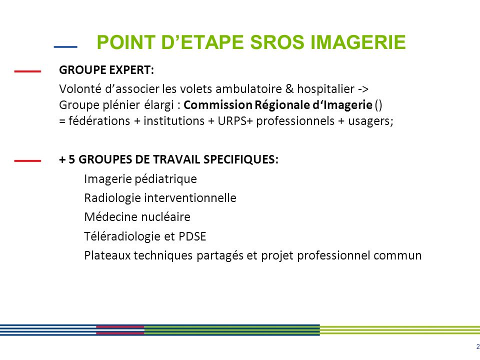 POINT D'ETAPE SROS IMAGERIE