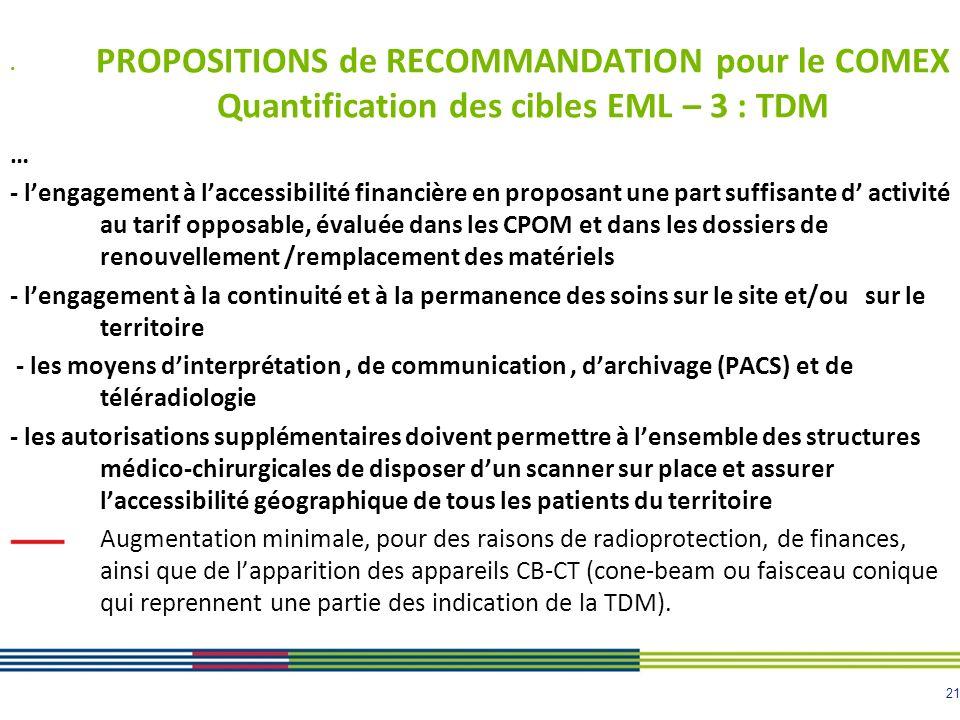 PROPOSITIONS de RECOMMANDATION pour le COMEX Quantification des cibles EML – 3 : TDM