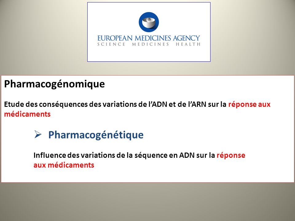 Pharmacogénomique Pharmacogénétique
