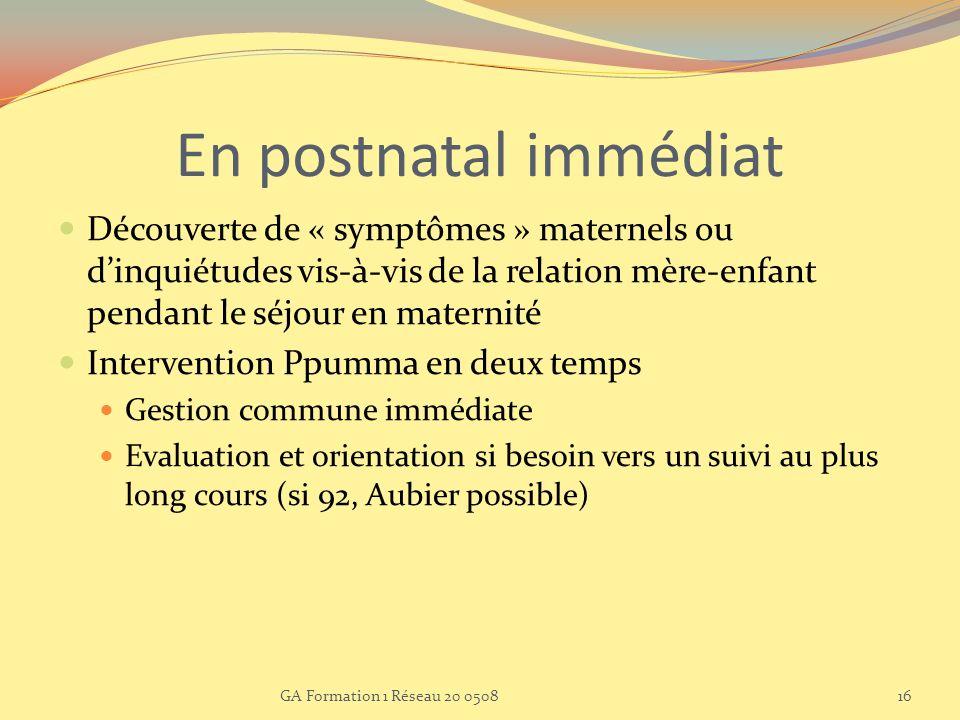 En postnatal immédiat Découverte de « symptômes » maternels ou d'inquiétudes vis-à-vis de la relation mère-enfant pendant le séjour en maternité.