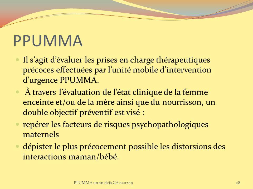 PPUMMA Il s'agit d'évaluer les prises en charge thérapeutiques précoces effectuées par l'unité mobile d'intervention d'urgence PPUMMA.