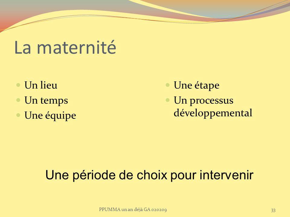 La maternité Une période de choix pour intervenir Un lieu Un temps