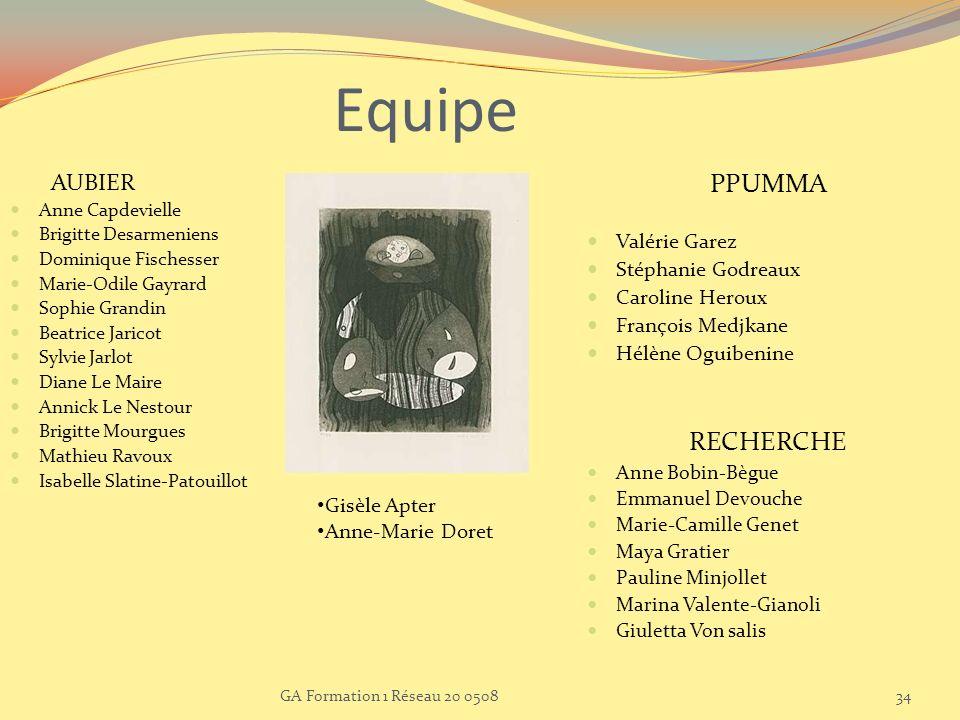 Equipe PPUMMA RECHERCHE AUBIER Valérie Garez Stéphanie Godreaux