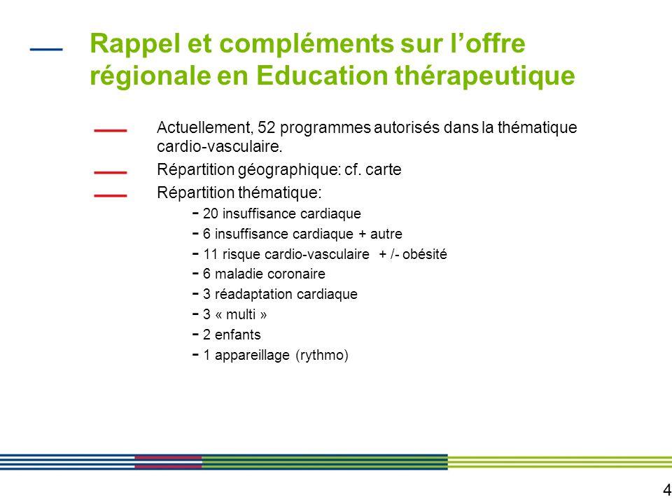 Rappel et compléments sur l'offre régionale en Education thérapeutique