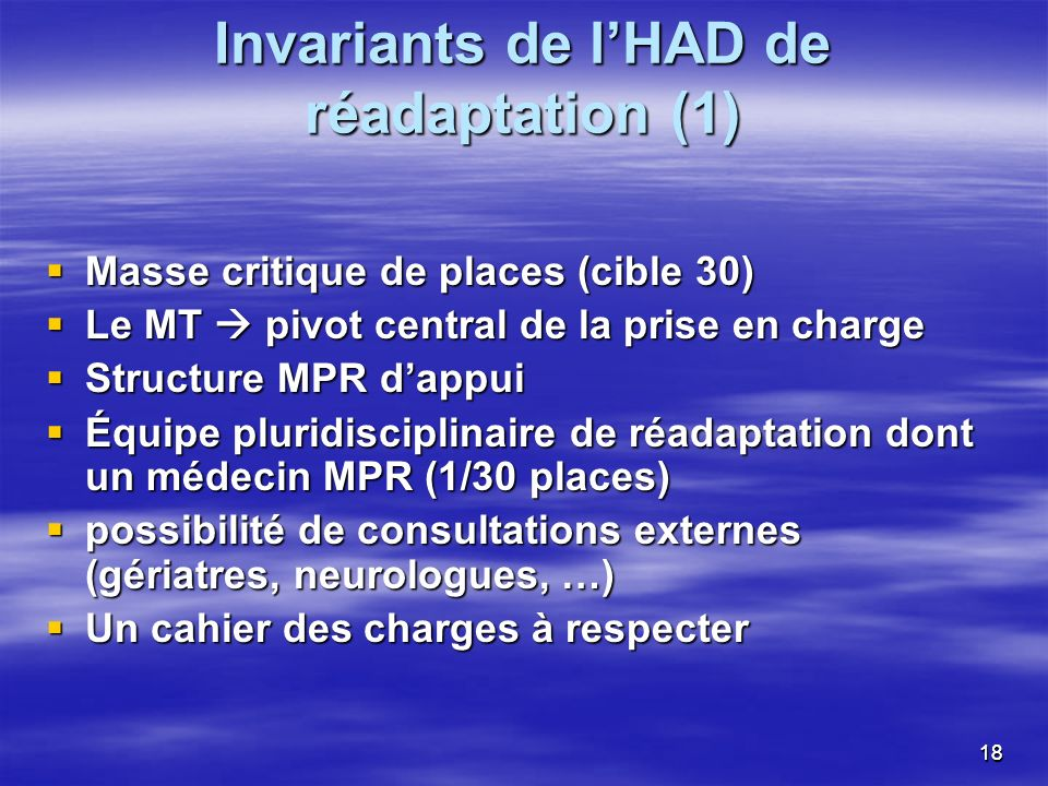 Invariants de l'HAD de réadaptation (1)