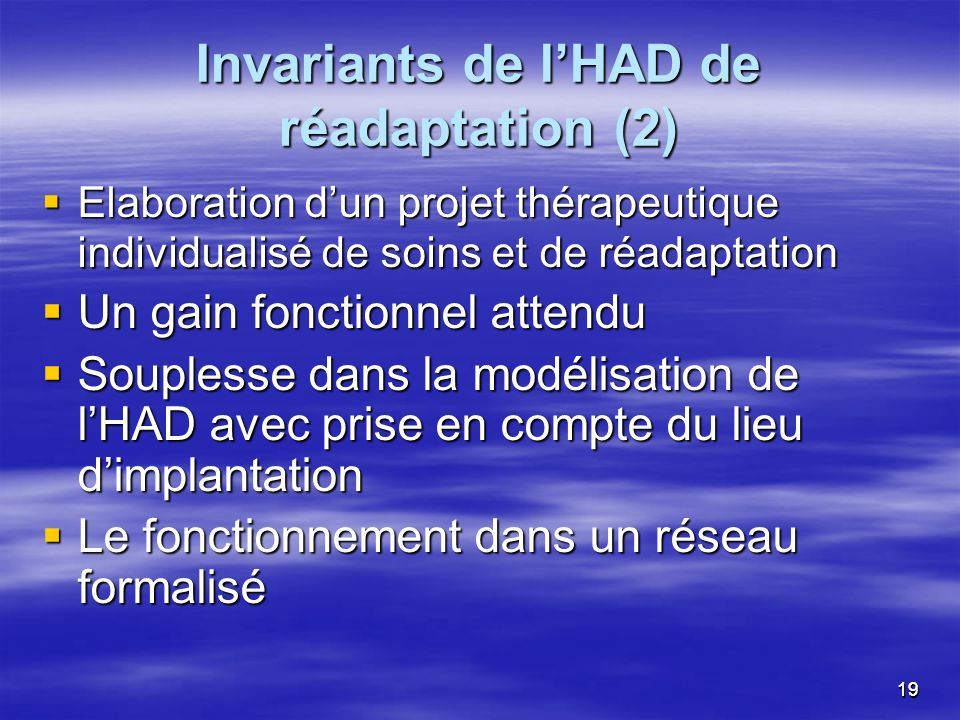 Invariants de l'HAD de réadaptation (2)