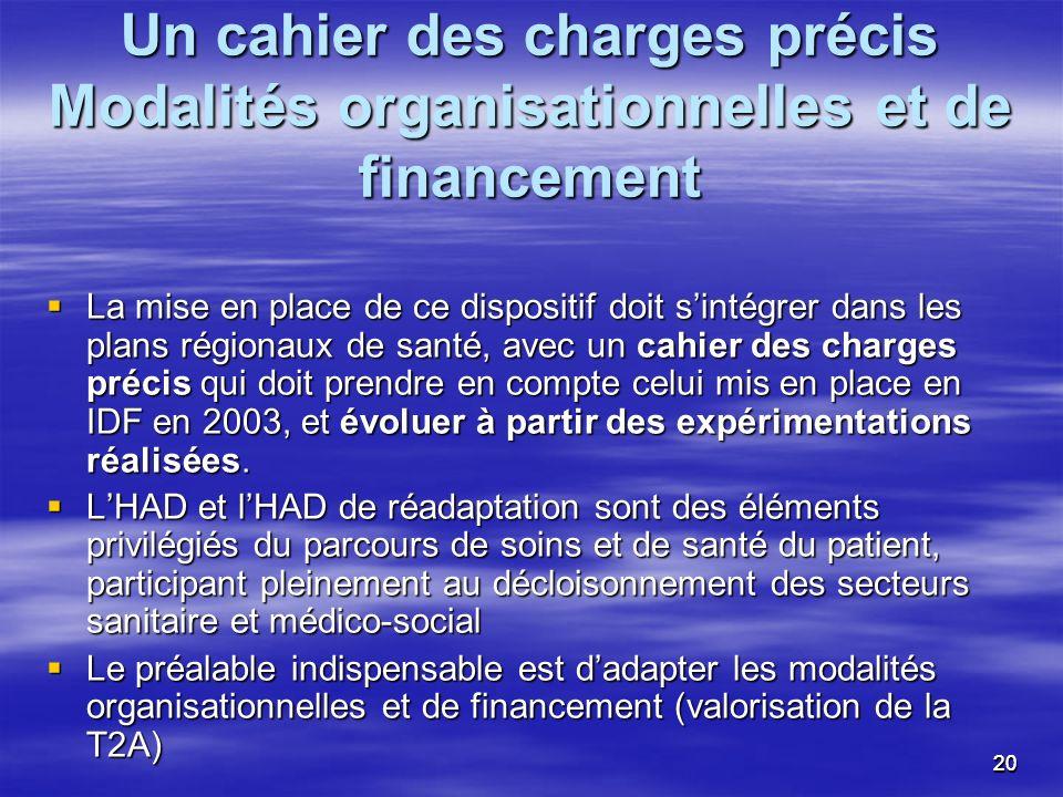 Un cahier des charges précis Modalités organisationnelles et de financement
