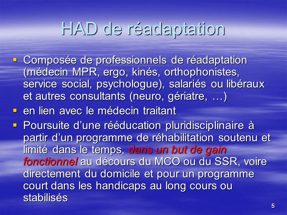 HAD de réadaptation
