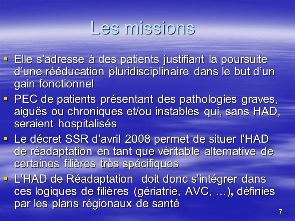Les missions Elle s'adresse à des patients justifiant la poursuite d'une rééducation pluridisciplinaire dans le but d'un gain fonctionnel.