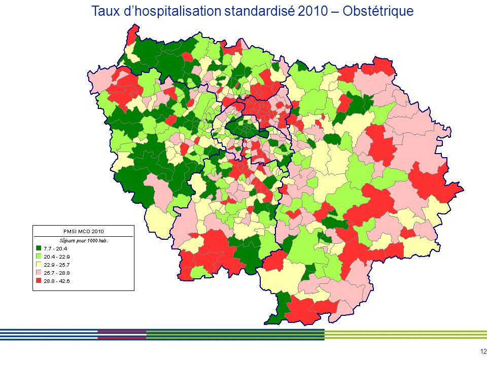 Taux d'hospitalisation standardisé 2010 – Obstétrique