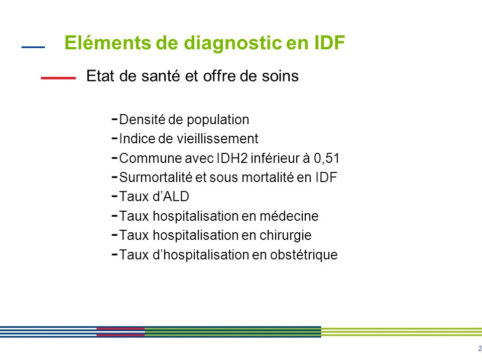 Eléments de diagnostic en IDF