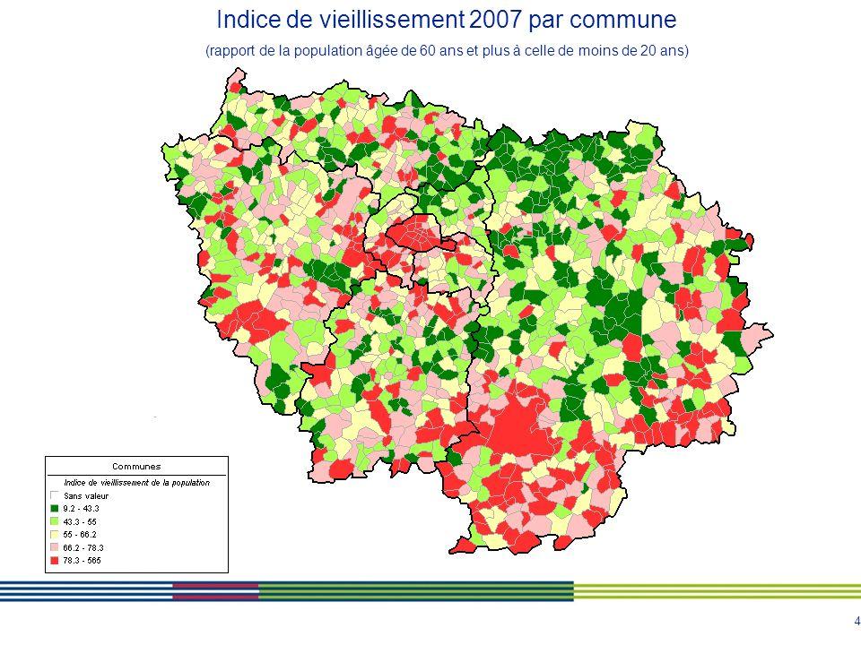 Indice de vieillissement 2007 par commune