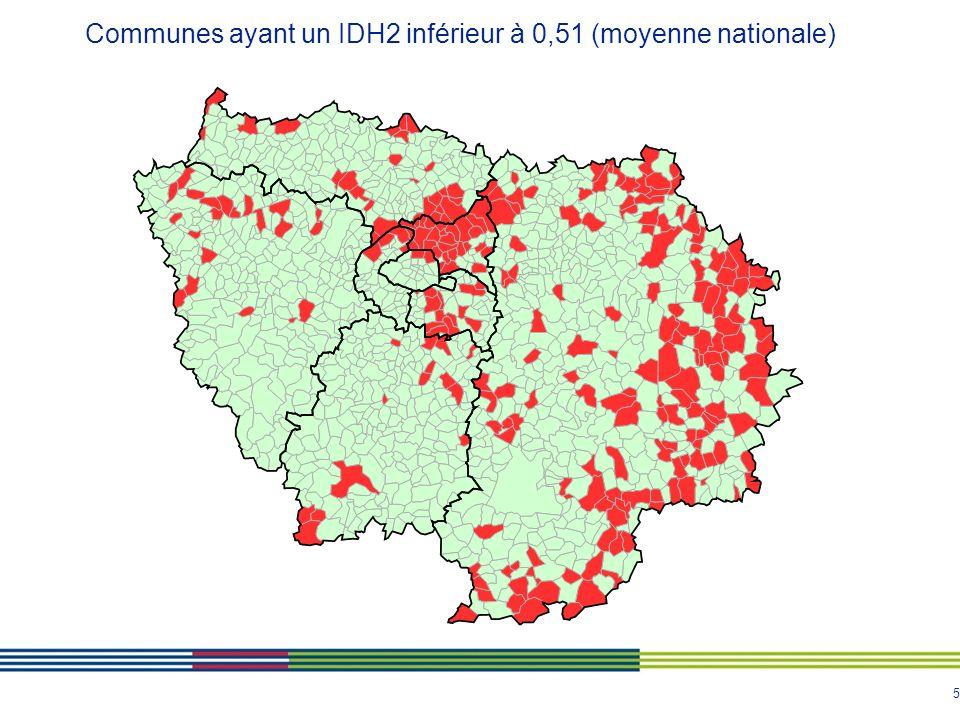 Communes ayant un IDH2 inférieur à 0,51 (moyenne nationale)