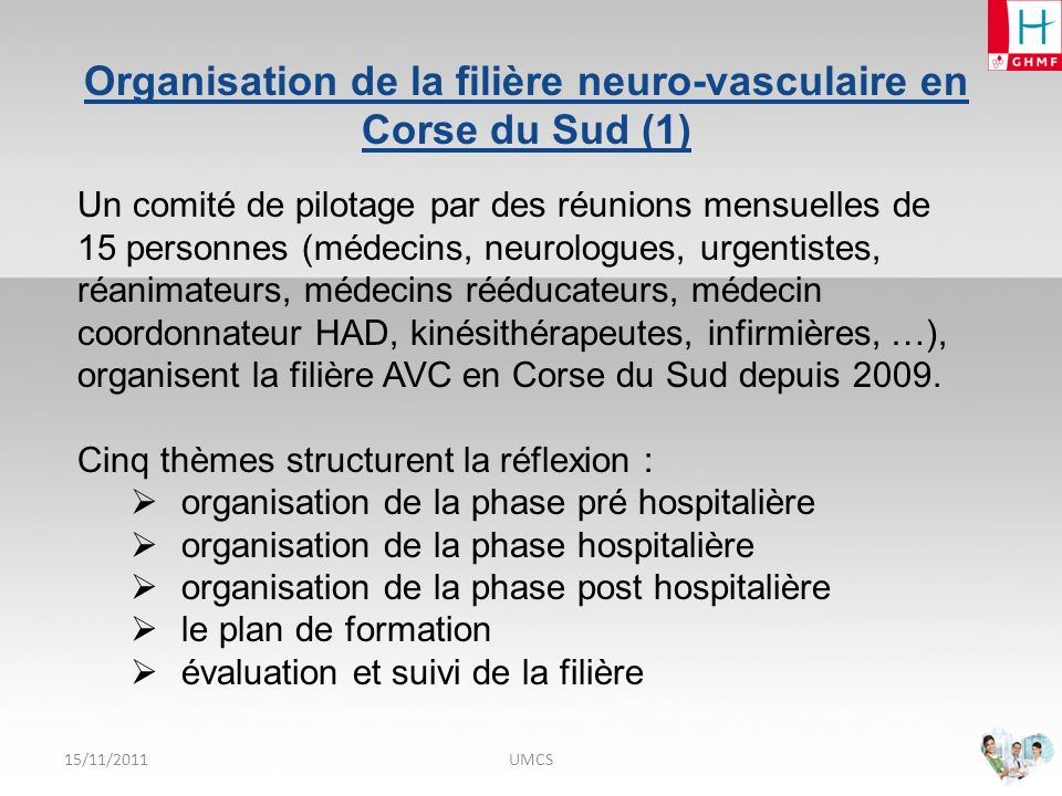 Organisation de la filière neuro-vasculaire en Corse du Sud (1)