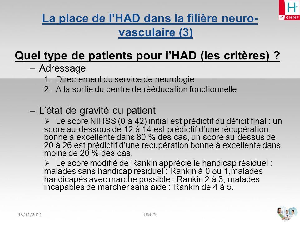 La place de l'HAD dans la filière neuro-vasculaire (3)