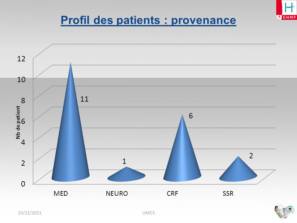 Profil des patients : provenance