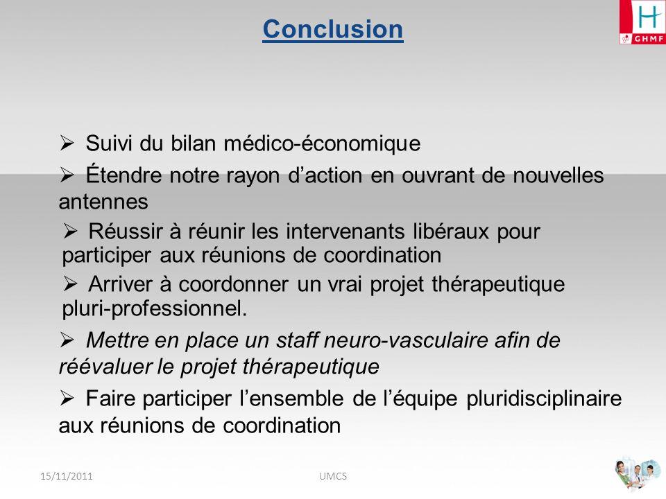 Conclusion Suivi du bilan médico-économique